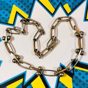 Vintage 80's funky silver metal punk necklace
